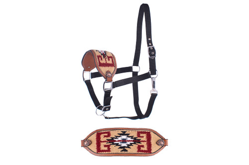 Showman ®  Adjustable nylon bronc halter with a embroidered light brown noseband.
