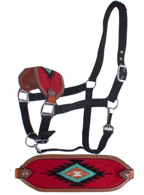 Showman ®  Adjustable nylon bronc halter with a embroidered red noseband.