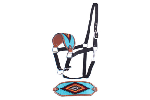 Showman ®  Adjustable nylon bronc halter with a embroidered teal noseband.