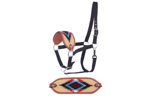 Showman ®  Adjustable nylon bronc halter with a embroidered light beige noseband.