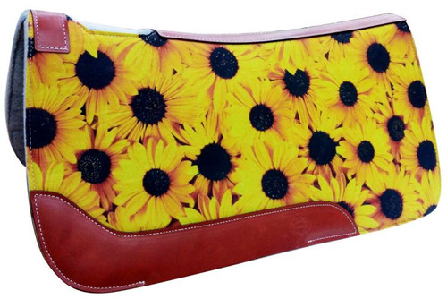 "Showman ® 31"" X 32"" Sunflower Printed Solid Felt Saddle Pad."