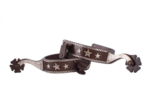 Showman ® Men's size brown steel spur with silver rope border and stars with silver engraved overlay.
