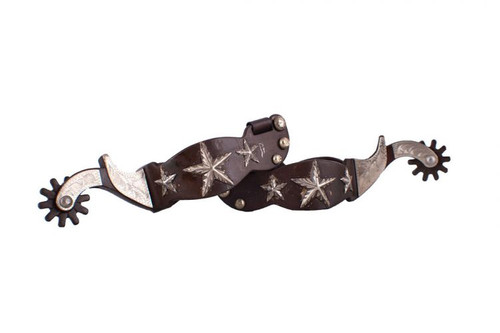 Showman ® Men's size brown steel spur with engraved stars and silver engraved overlay.