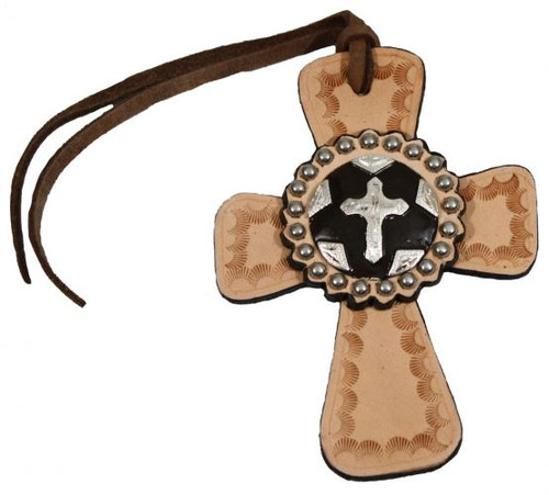 Light Oil Tie on Leather Cross with Silver Cross Concho