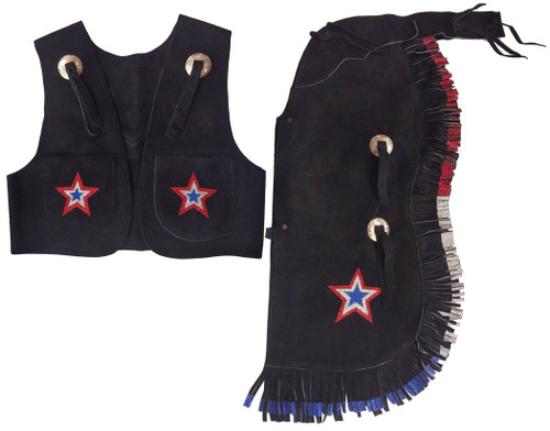 Showman® Black kid's size suede leather chap and vest outfit with fringe and glitter stars.