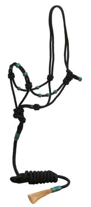 Showman ® Black nylon rope halter with teal rawhide beads and 7ft horse hair popper lead.