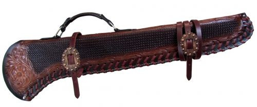 """Showman ® 34"""" Basketweave tooled gun scabbard with copper buckles."""