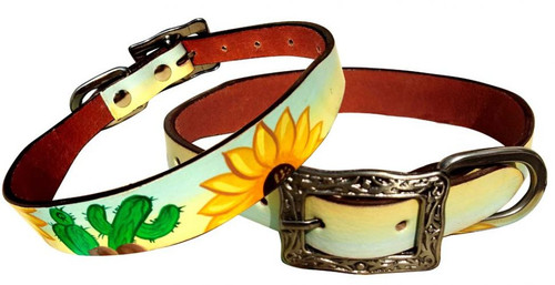 Showman Couture ™ Sunflower and Cactus overlay leather dog collar.