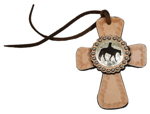 Light Oil Tie on Leather Cross with Silver Pleasure Horse Concho