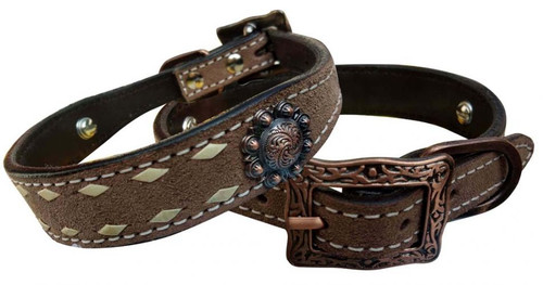 Showman Couture ™ Rough Out leather dog collar with natural buckstitch trim.