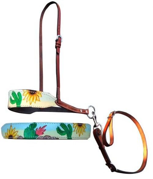 Showman ® Hand Painted Sunflower and cactus print overlay leather tie down noseband and strap.