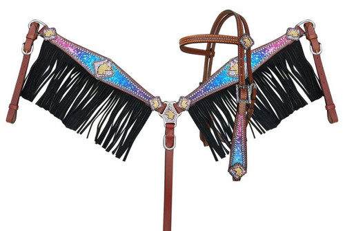 Showman ® Galaxy print browband headstall and breastcollar set with unicorn conchos and black suede leather fringe.