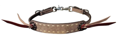 Showman ® Roughout leather wither strap with natural buckstitch trim.