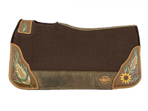"""Klassy Cowgirl  28x30  Barrel  Style 1""""  Brown  felt  pad with  antiqued feather  & sunflower  design."""