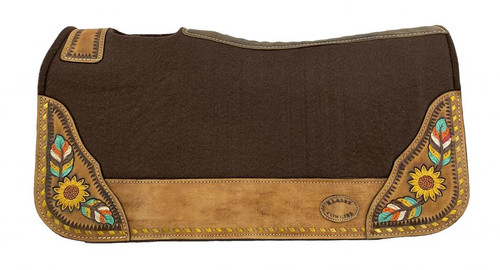 "Klassy Cowgirl  28x30  Barrel  Style 1""  Brown  felt  pad with  painted feather  & sunflower  design."