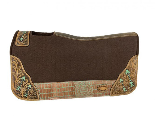 """Klassy Cowgirl  28x30  Barrel  Style 1""""  Brown  felt  pad with  painted arrow design."""