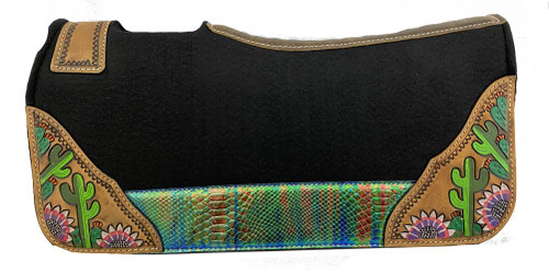 "Showman®  Pony  24""  x  24""  Black  felt  1""  saddle pad with  blue/green  snake metallic  accent  with  painted floral  and cactus designs."