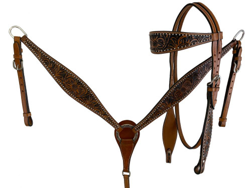 Showman Floral Tooled Leather Browband Headstall & Breast Collar Set