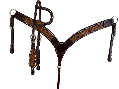 Showman Floral Tooled Leather Headstall & Breast Collar Set w/Teal Inlay