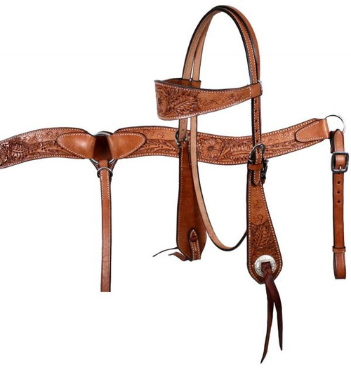 Showman Double Stitched Leather Wide Browband Headstall & Breast Collar Set