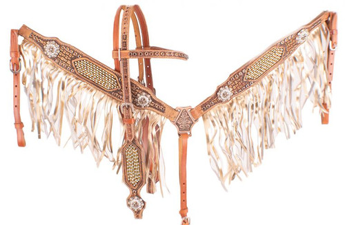 Showman Gold & Pearl Inlay Leather Browband Headstall & Fringe Breast Collar Set