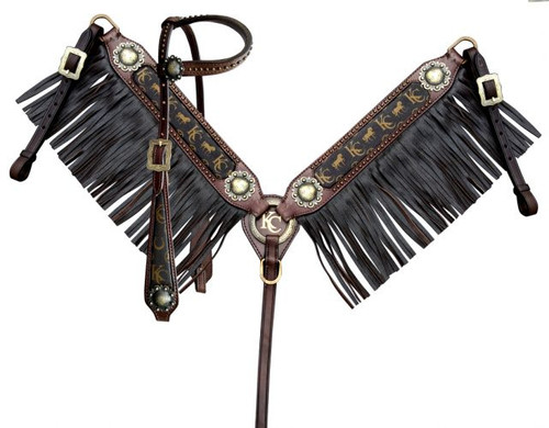 Klassy Cowgirl Argentina Cow Leather Single Ear Headstall & Breast Collar Set w/Motif Inlay & Leather Fringe