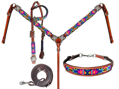 Showman Bright Color Beaded Tribal Design Leather Headstall & Breast Collar Set