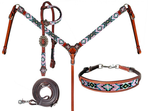 Showman Leather Headstall & Breast Collar Set w/Pastel Beaded Southwest Design