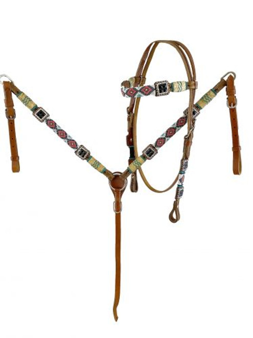 Showman Beaded Browband Leather Headstall & Breast Collar Set