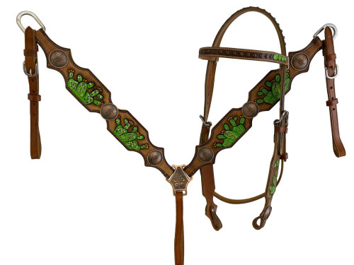 Showman ® Hand Painted Cactus Brow band Headstall and Breast collar Set.