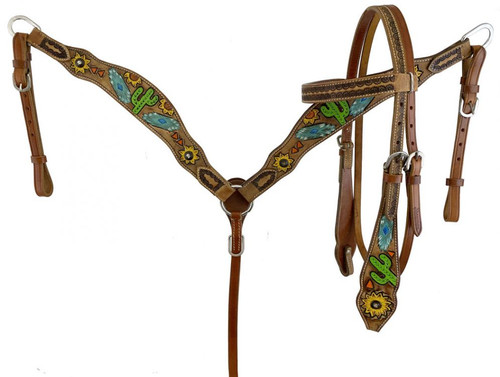 Showman Leather Headstall & Breast Collar Set w/Hand Painted Sunflower & Cactus Design