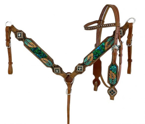 Showman Hand Painted Browband Headstall & Breast Collar Set w/Feather Design