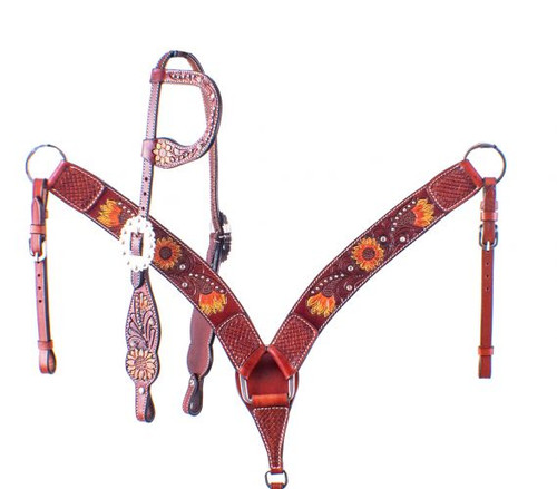 Showman Hand Painted Sunflower Single Ear Leather Headstall & Breast Collar Set
