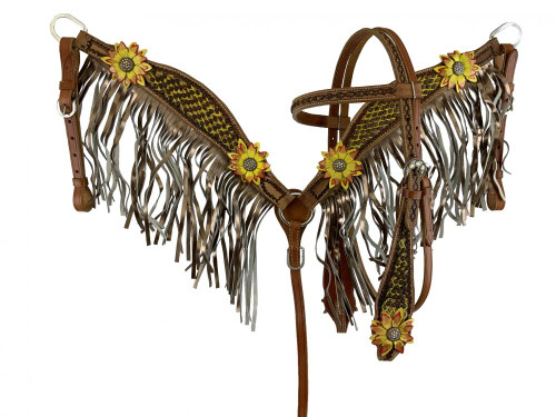 Showman Yellow & Red 3D Floral Accent Leather Headstall & Breast Collar Set w/Fringe