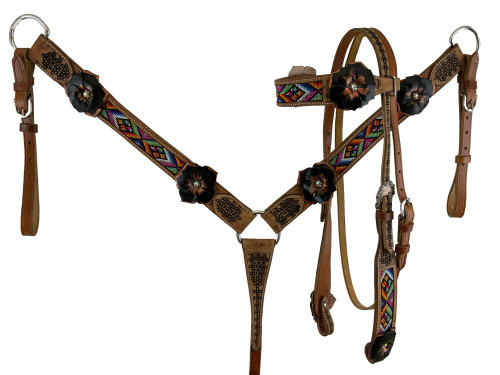 Showman 3D Black/Copper Floral & Beaded Leather Headstall & Breast Collar Set