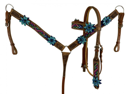 Showman Aztec Beaded Leather Headstall & Breast Collar Set w/ 3D Leather Flowers