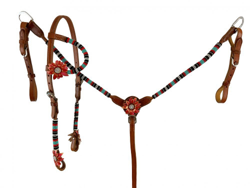 Showman Single Ear Beaded Leather Headstall & Breast Collar Set w/ 3D Leather Flower Accents