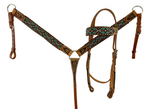 Showman Beaded Browband Leather Headstall & Breast Collar Set w/Black Rawhide Accents