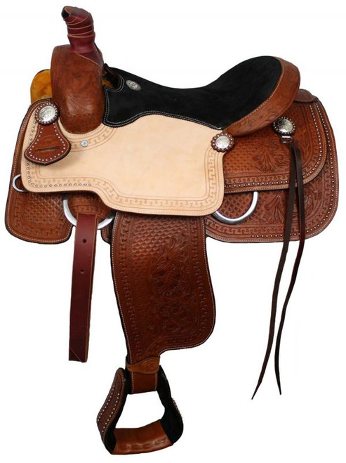 """16"""", 17"""" Double T Roper Style Saddle with Suede Leather Seat and Waffle and Floral Tooling"""