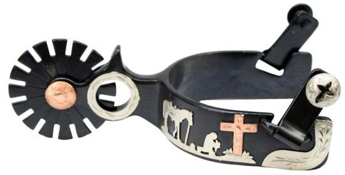 Showman Men's Size Black Steel Silver Show Spur With Copper Star And Praying Cowboy Design