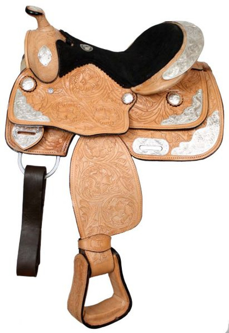 "12"", 13"" Fully Tooled Double T Pony Show Saddle"