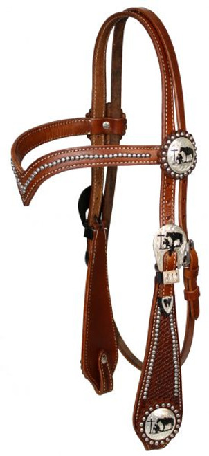 Showman Double Stitched Leather Silver Beaded V Brow Headstall With Silver Engraved Cut Out Praying Cowboy Conchos