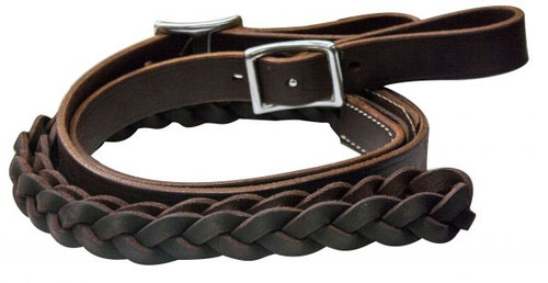 One Piece Leather Braided Middle Roping Rein