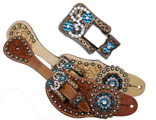 Western Horse Bling Tooled Turquoise Leather Spur Straps w// Crystal Rhinestones