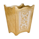 Royal Florentine Gold and Ivory Waste Paper Bin - side view