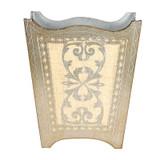 Silver Royal Florentine Waste Paper Bin- Ivory (wood)