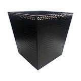 Square Tapered Black Leather Croc Bin