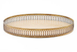 Oval Galuchat Tray with Brass Trim in Sand