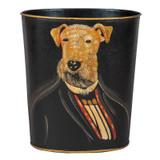 Professor Airedale Dog Portrait Waste Paper Bin  (front)