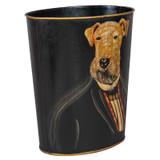 Professor Airedale Dog Portrait Waste Paper Bin (side)